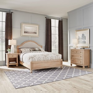 Country Style Queen Bed, Nightstand & Chest