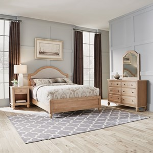 Country Style Queen Bed, Nightstand, Dresser & Mirror Set