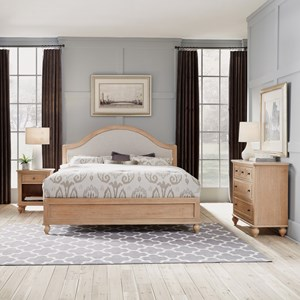 Country Style King Bed, Nightstand & Chest