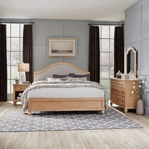 Country Style King Bed, Nightstand, Dresser & Mirror Set