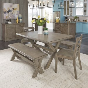 Farmhouse 5-Piece Table and Chair Set with 2 Benches