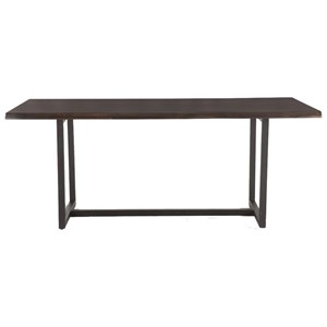 Industrial Dining Table with Faux Live Edge Top