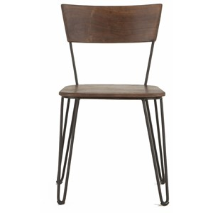 Dining Side Chair with Open Back and Metal Frame