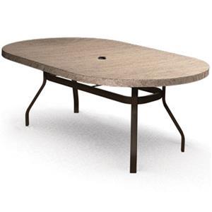 "Homecrest Slate 44""x84"" Oval Dining Table with Umbrella Hole"