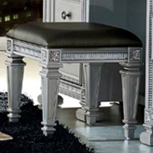 Glam Vanity Stool with Elegant Carved Legs