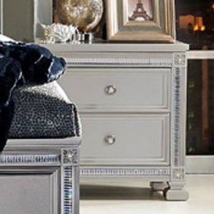 Glam Nightstand with 2 Drawers and Intricate Inlay