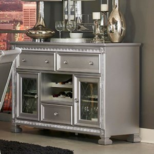 Glam Dining Server with Built-in Wine Bottle Storage