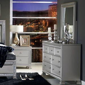 Glam 7 Drawer Dresser and Mirror with Intricate Inlay