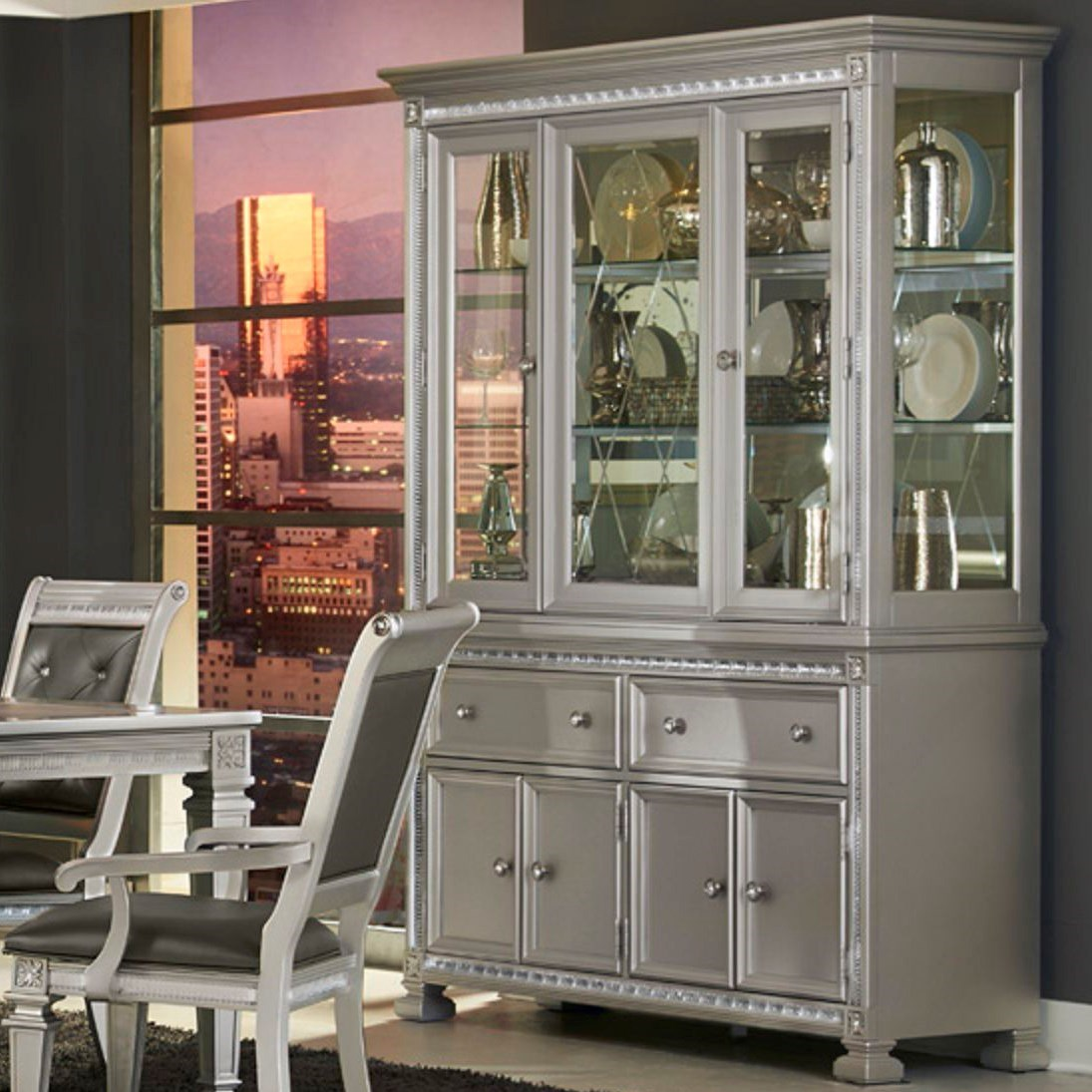 1958 Glam Dining Buffet and Hutch by Homelegance at Dream Home Interiors