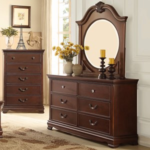 Homelegance 2039C Traditional Dresser and Mirror
