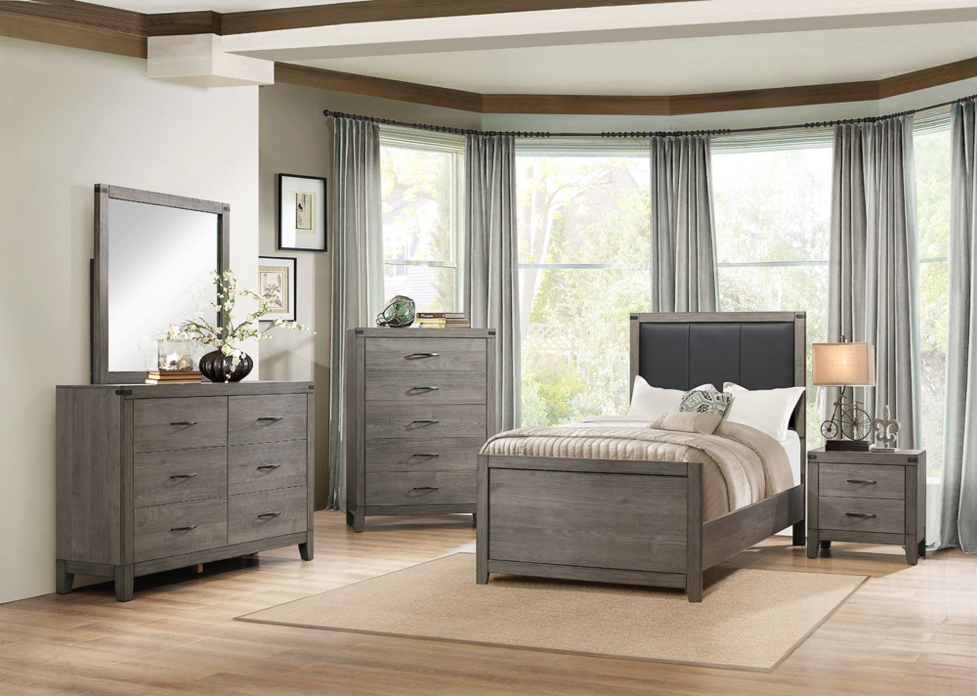 2042 Contemporary Twin Bedroom Group by Homelegance Furniture at Del Sol Furniture