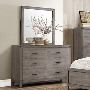 Contemporary 6-Drawer Dresser and Mirror