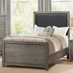 Contemporary Twin Bed with Upholstered Headboard