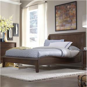 King Low Profile Sleigh Bed with Waved Sides & Tapered Feet