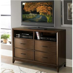 TV Chest with 2 Open Compartments & Waved Front Profile
