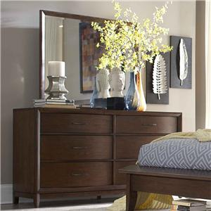 Waved-Front Dresser with Landscape Mirror