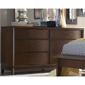 6-Drawer Dresser with Metal Hardware & Waved Front Profile