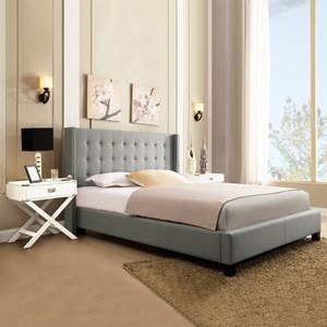 Homelegance 315B Grey Queen Upholstered Platform Bed