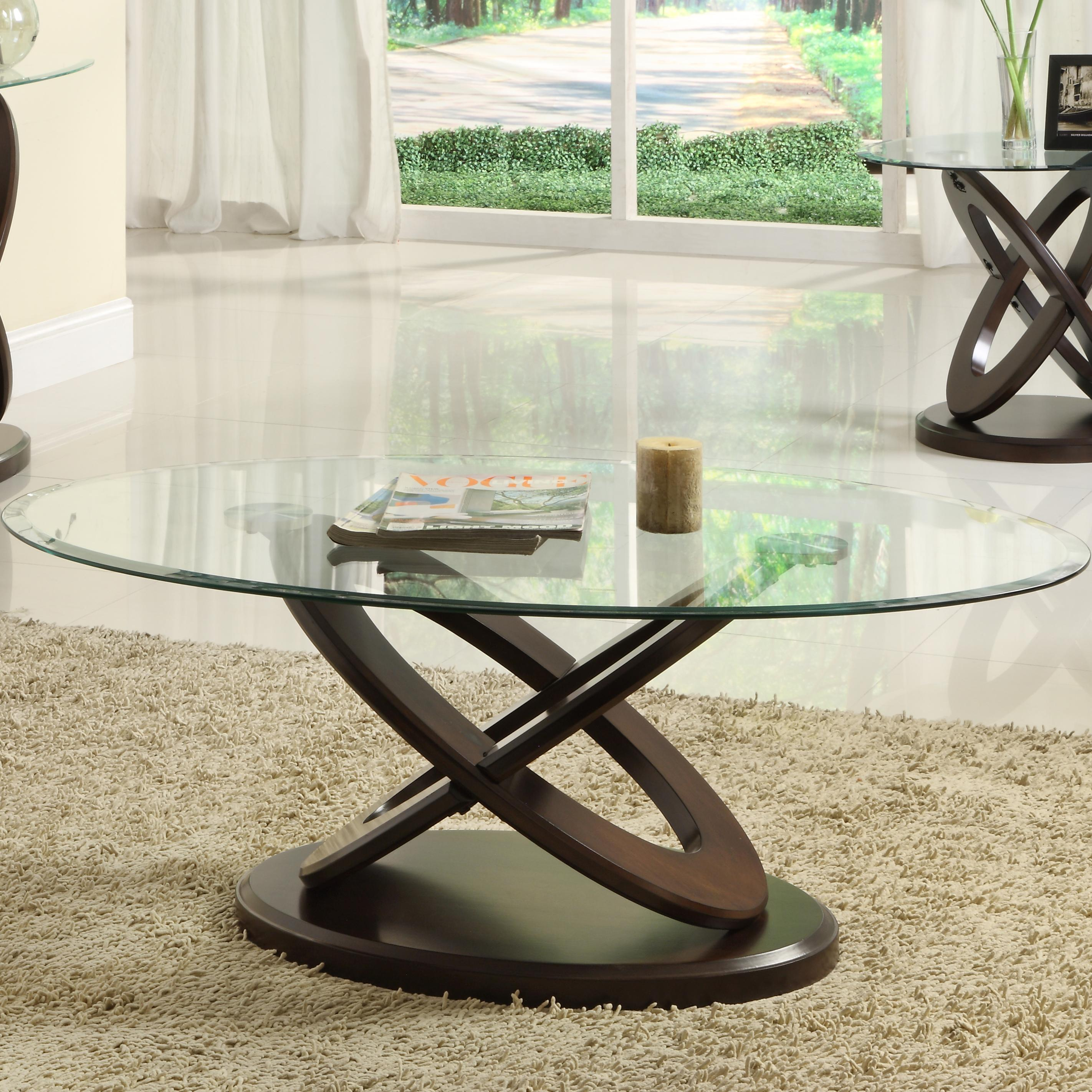 3401W Oval Cocktail Table by Homelegance at A1 Furniture & Mattress