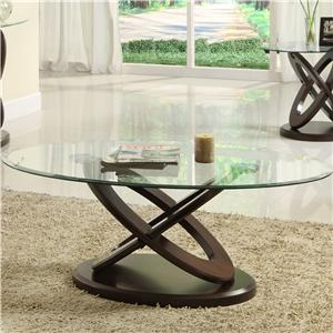 Oval Cocktail Table with Glass Top