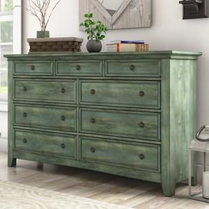 Casual Nine Drawer Dresser