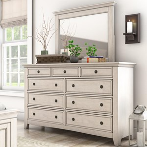 Casual Nine Drawer Dresser and Mirror Set