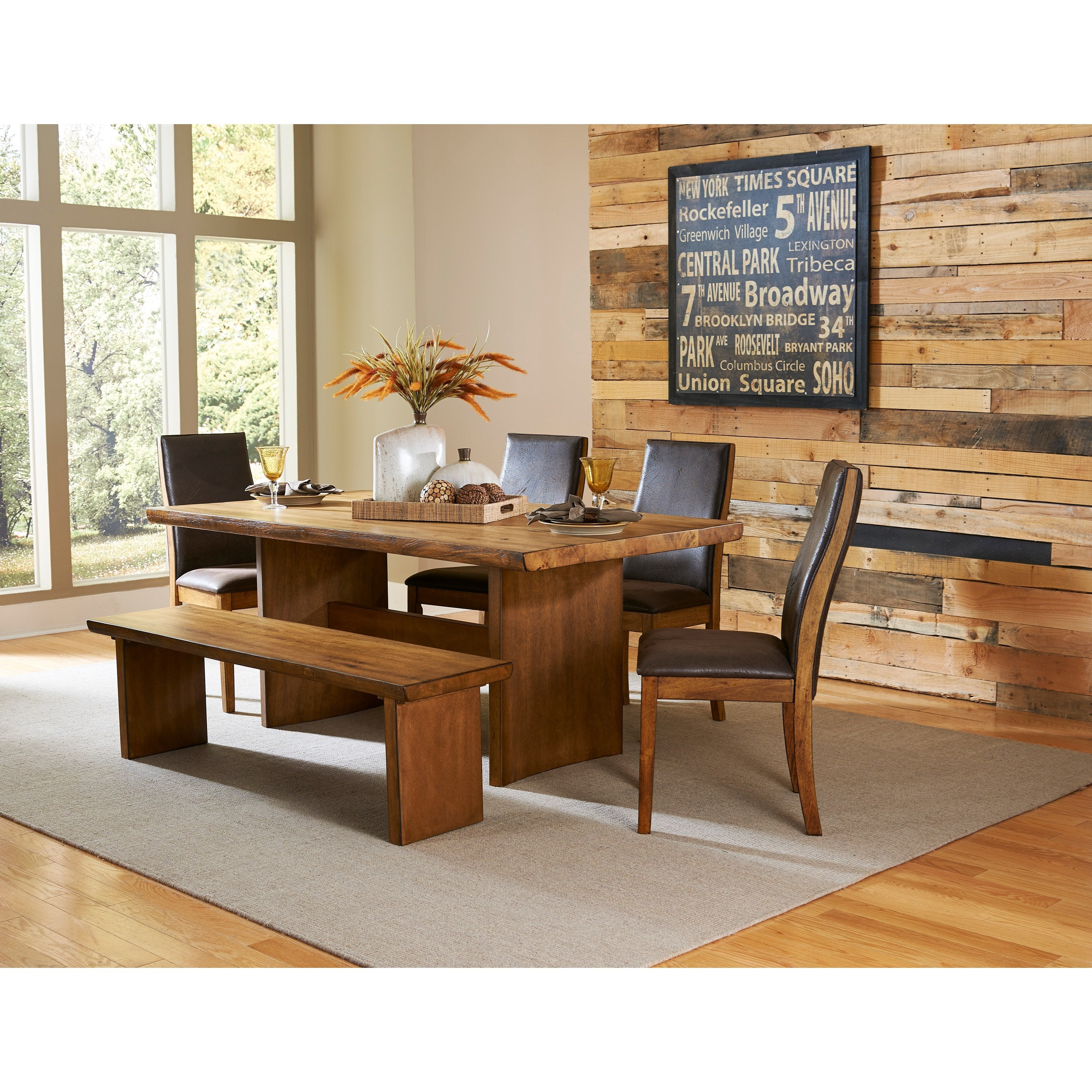 5479 Table and Chair Set with Bench by Homelegance Furniture at Del Sol Furniture