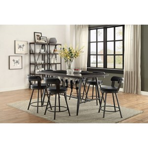 Counter Height Table and Chair Set with Wine Bottle Storage