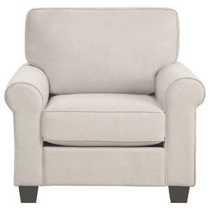 Transitional Upholstered Chair with Removable Seat and Back Cushions