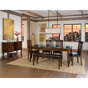 Transitional Formal Dining Room Group with Bench