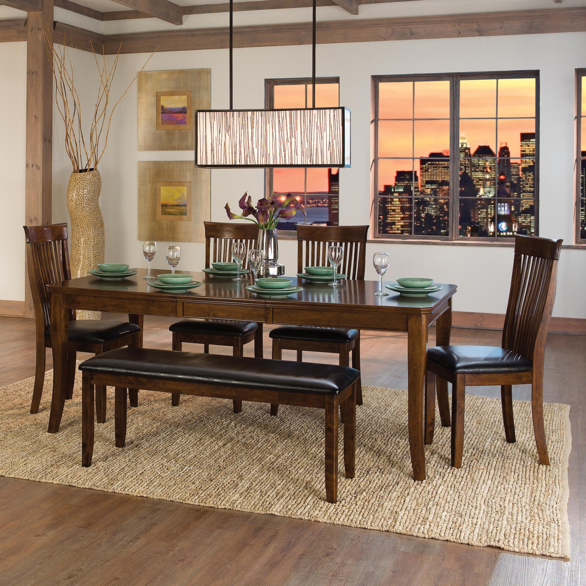 Alita Table and Chair Set with Bench by Homelegance at A1 Furniture & Mattress
