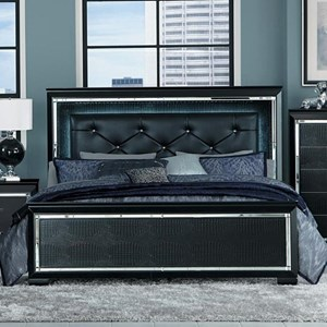 Glam Queen Panel Bed with Upholstered LED Light Headboard