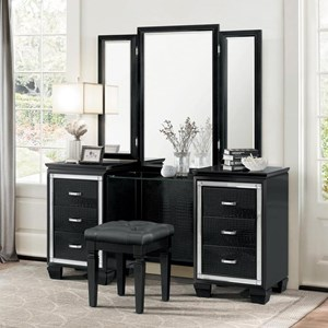 Glam Vanity Dresser with Mirror Accents