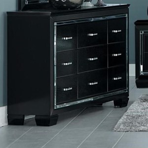 Glam Nine Drawer Dresser with Beveled Mirror Accent