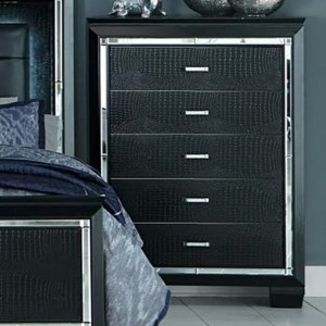 Glam Five Drawer Chest with Beveled Mirror Accent