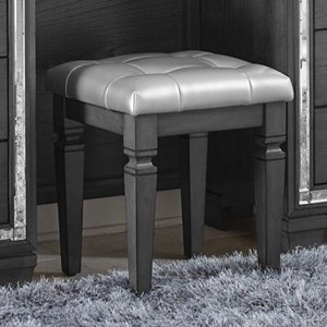 Vanity Stool with Crystal Button Tufting