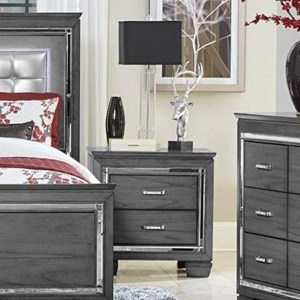 Glam Two Drawer Night Stand with Under-Light