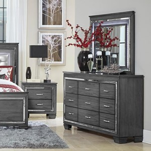 Glam Nine Drawer Dresser and Mirror with Beveled Mirror Accent