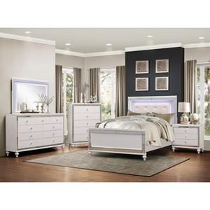 Glam King LED Lit Bedroom Group