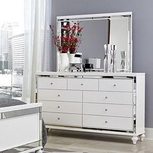 Glam Dresser and Mirror with Embossed Alligator Texture and Mirrored Panels