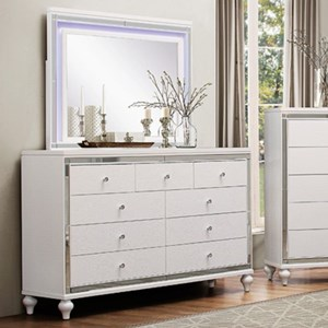 Glam Dresser and LED Lit Mirror Combo with Mirrored Inlays and Embossed Alligator Texture