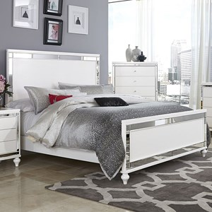 Glam California King Bed with Mirror Inlays and Embossed Alligator Texture