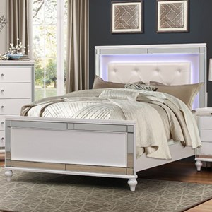 Glam California King Bed with LED Lit Headboard and Button Tufting