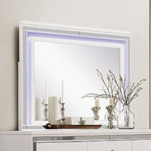 Glam LED Lit Mirror with Mirrored Inlay Frame
