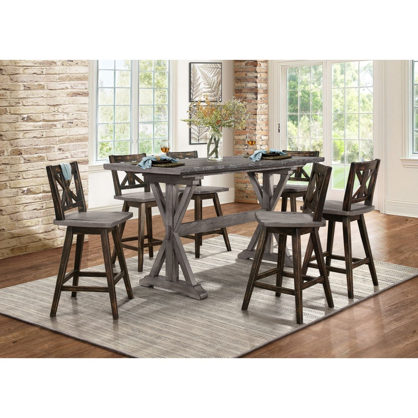 Amsonia 7-Piece Counter Height Dining Set by Homelegance at Rife's Home Furniture