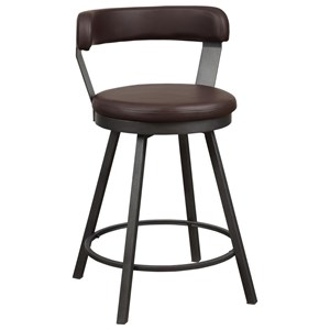 Industrial Counter Height Swivel Chair with Bi-Cast Vinyl Upholstery
