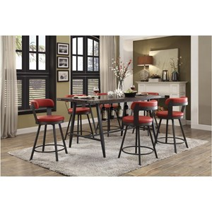 Industrial 7 Piece Dining Set with Built In Wine Rack