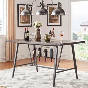Industrial Counter Height Table with Built In Wine Rack
