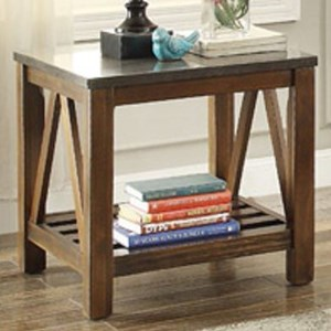 Mission End Table with Bluestone Marble Top