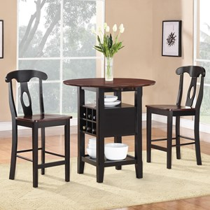 Pub Table and Chair Set with Two Tone Finish and Wine Bottle Storage
